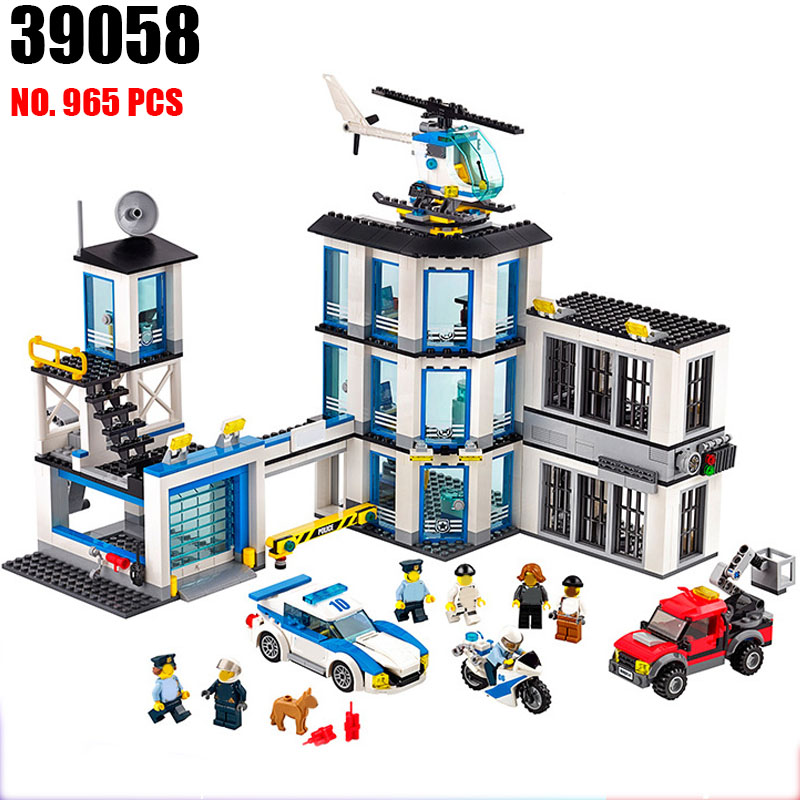 39058 city series the Police Station Model Building Blocks set Compatible 60141 Classic house Architecture Toys for children police station swat hotel police doll military series 3d model building blocks construction eductional bricks building block set