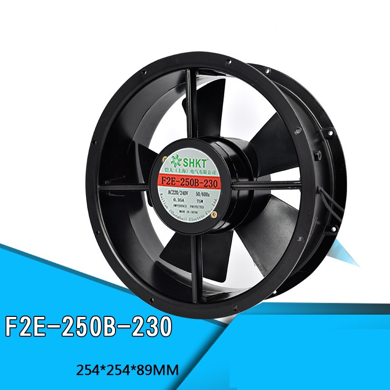 F2E-250B-230 220V Axial Fan Cabinet Cooling Fan 254*254*89mm 75W 0.3A Double Ball Bearing Pure Copper Motor Full Metal Blower f2e 150b 230 axial cooling fan ac 220v 240v 0 22a 38w 2600rpm 17250 17cm 172 150 50mm 2 wires 50 60hz