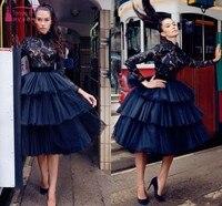 Короткое черное готическое арабское выпускное платье кружевное бальное платье с длинными рукавами темно синяя скромная юбка пачка вечерне