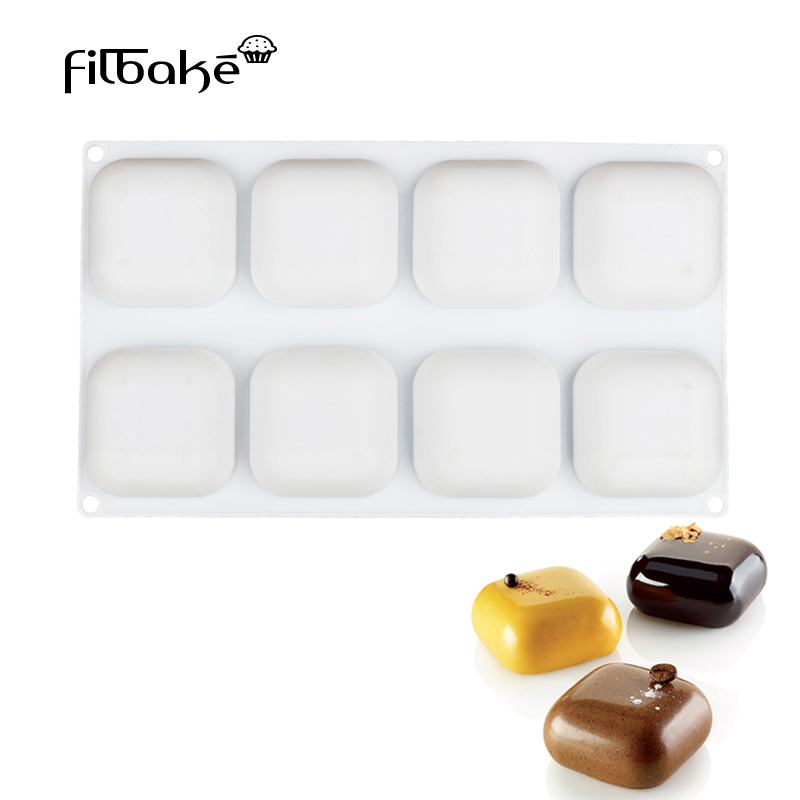 FILBAKE 8 Cavity Square GEM Shaped Cake Mold Baking Cheese Chocolate Dessert Silicone Molds Pudding Cake Decorating Tools|decorating tools|silicone mold|cake mold - title=