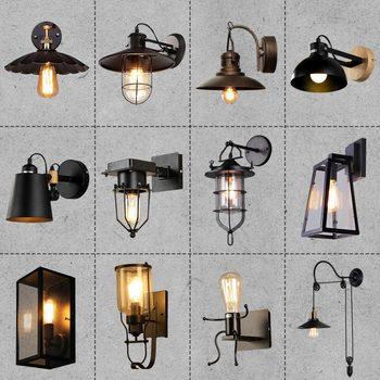 American Loft American Vintage Indoor Light Bedside Lamps Industrial Sconce Bedroom Wall Lights For Home Lighting 110V/220V E27