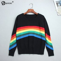 BIG SALE! Knit Sweater Women 2018 Fashion Runway Design Rainbow Patchwork harajuku Loose Winter Pullovers Tops Jumper pull femme