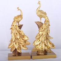 Household Resin Peacock Ornaments Golden Peacock Miniature Figurines Resin Desktop Crafts Home Decor Accessories Business Gifts
