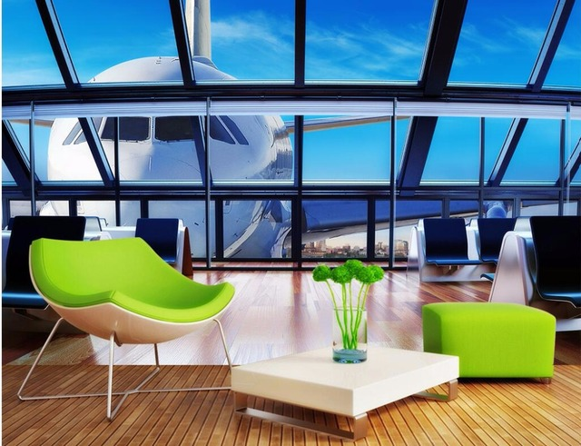 3d Wall Murals Wallpaper For Living Room Walls 3 D Photo Wallpaper The  Airport Aviation Scenery