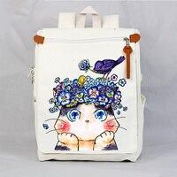 Korean Canvas School Book Bag Women Vintage Cartoon Cat Printing Laptop Backpack Bags Fashion Travel Bag