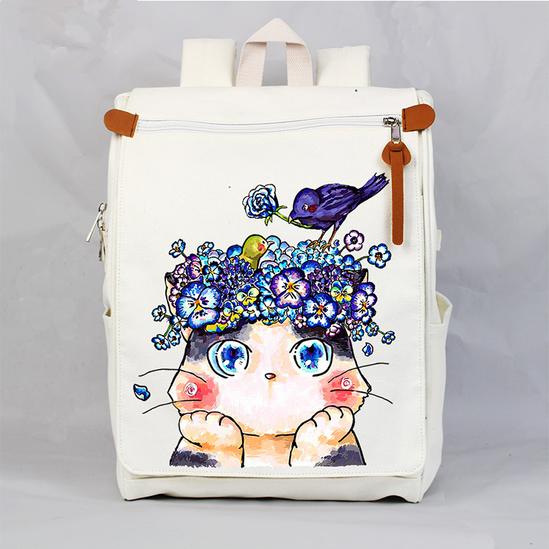 Korean Canvas School Book Bag Women Vintage Cartoon Cat Printing Laptop Backpack Bags Fashion Travel Bag Knapsack Packsack travel tale fashion cat and dog capsule pet cartoon bag hand held portable package backpack