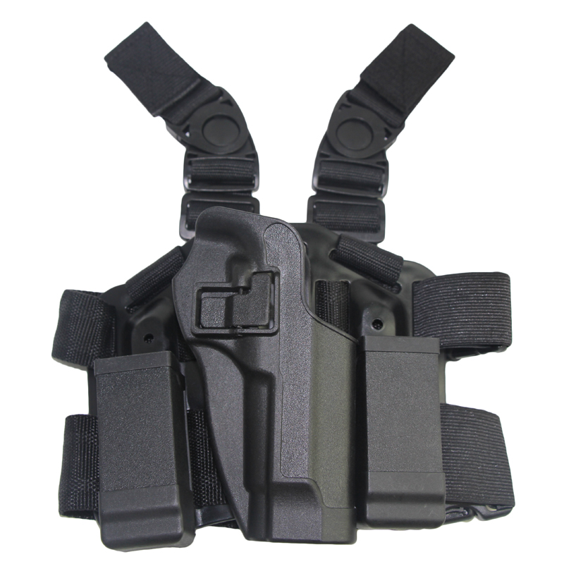 d314d05f0f7a Blackhawk CQC Gun Holster Hunting Airsoft Tactical Holster Pistol Gun Drop  Leg Double Magazine Pouch Thigh Holster for M9