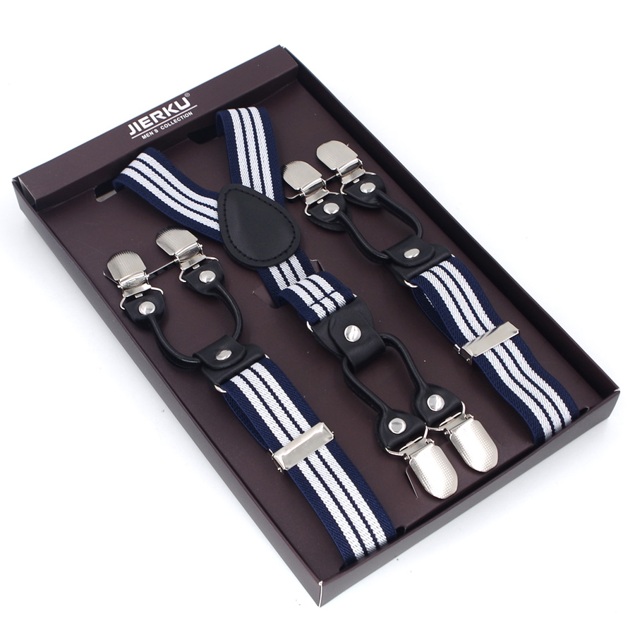 JIERKU Suspenders Mans Braces 6 Clips Black Leather Suspensorio Trousers Strap Father/Husbands Gift Without Box 2.5*120cm