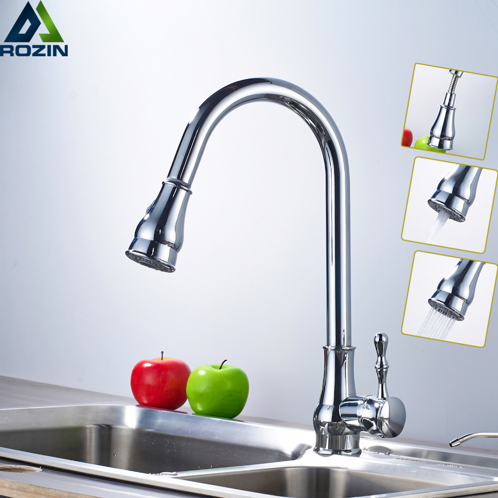 Chrome Pull Out Kitchen Taps Swive Spout Single Lever Kitchen Water Faucet Deck Mounted Stream Sprayer Hot and Cold Mixer single lever deck mounted pull out chrome bathroom kitchen mixer tap faucet leon60