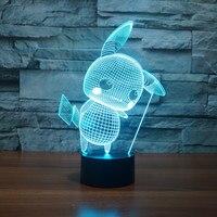 Pokemon Go Pikachu 3D LED NightLights Lamp Night Lights Mega Touch Table Lamp 7 Color RGB