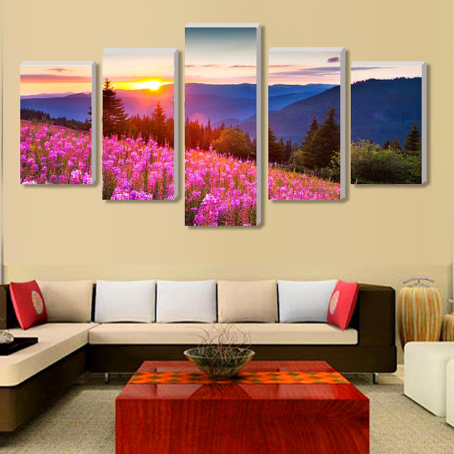 No Border) Pink Flowers Garden Wall Pictures For Living Room 5 Pcs ...