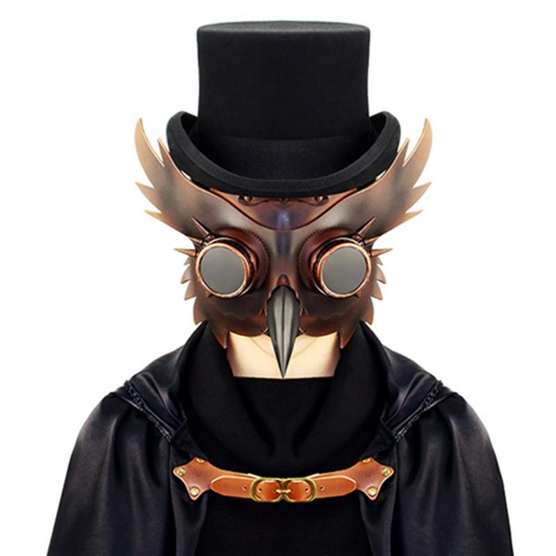 Main simulation visage masque tête ornement peste bec d'oiseau PU métal coiffures halloween prop bar parti cadeau animal punk masques