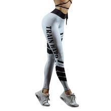 2018 Summer Leggings Women Workout Mid Waist Pants Fitness Elastic Leggings Train hard letter printed Patchwork