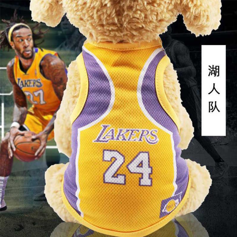 newest 6fb5f c8860 Medium Small Dog Basketball Vest Clothes NBA Lakers Bulls Cavaliers Celtics  Shirt Teddy Puppy Sport Costume