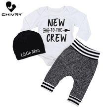 Chivry 3Pcs Newborn Infant Baby Boys Autumn Long Sleeve Letter Bodysuit Tops + Pants Hat Toddler Clothing Sets