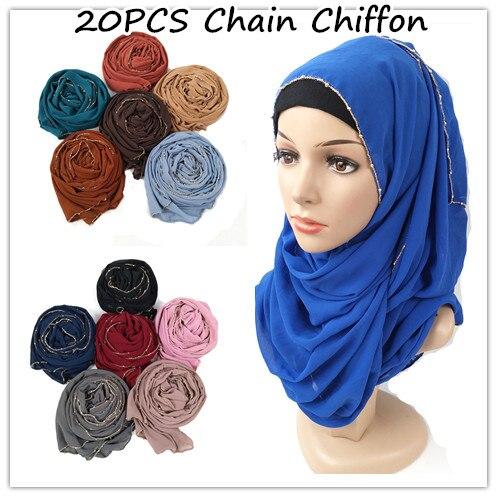 N8 20 pièces Haute qualité bulle en mousseline de soie écharpe longue châle chaîne en or hijab wrap musulman femmes tête foulard bandeau foulards islamiques