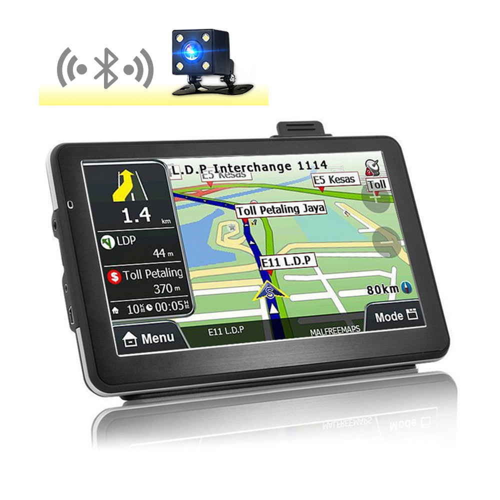Inch Hd Car Gps Navigation Bluetooth Av In Capacitive Screen Fm Gbmb Vehicle Truck Gps Europe Sat Nav Lifetime Map