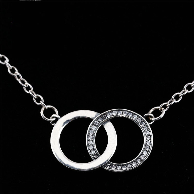 Hot Sales Trendy Authentic 925 Sterling Silver Pans Circles Necklace For Women Wedding Birthday Gift Fit Branded Fine Jewelry in Chain Necklaces from Jewelry Accessories