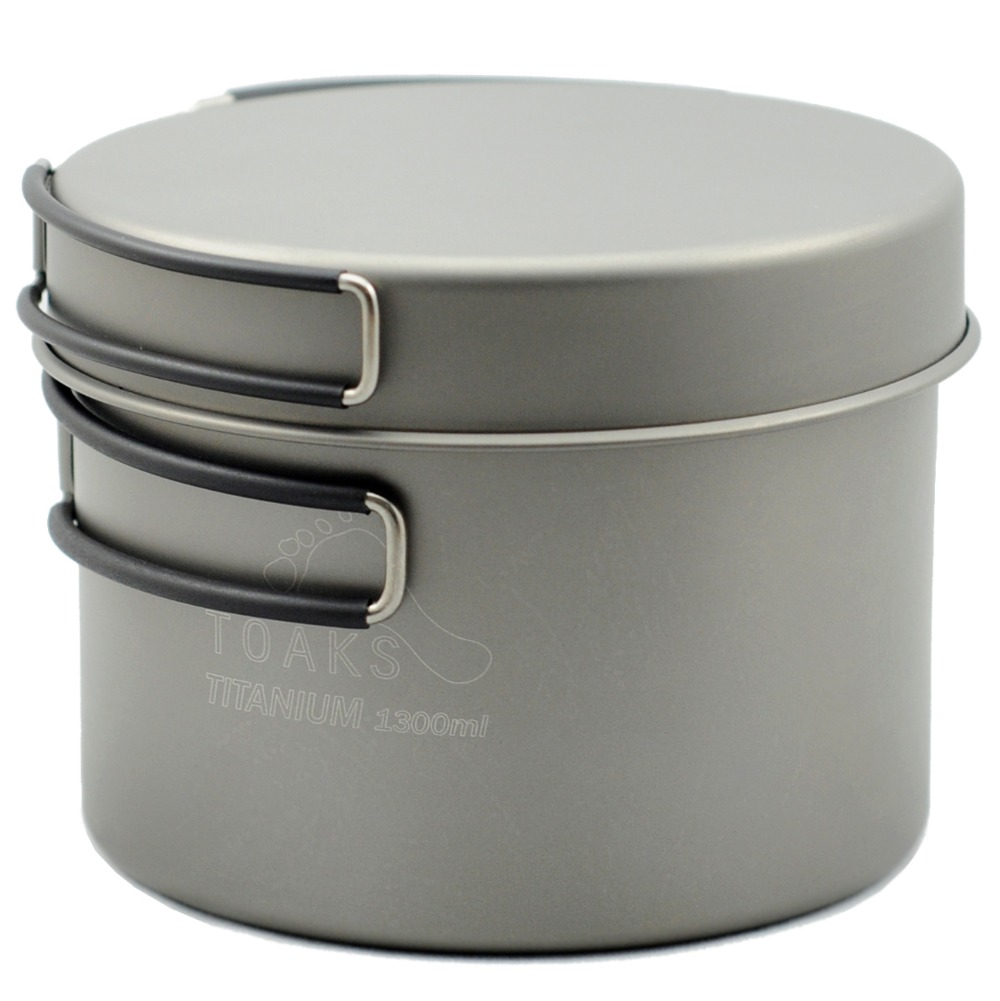 TOAKS Outdoor Camping Titanium Pot With Pan Lightweight Cookware Set 1100ml, 1300ml, 1600ml (no Insulation On Handle)