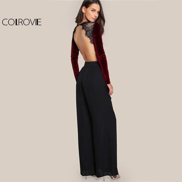 Backless Velvet Elegant Women Applique Long Sleeve Bodysuit 3