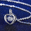 Trendy Jewelry Women Silver Necklace Pendant Hearts and Arrows Cut 925 Sterling Silver Female Crystal Lovely Heart Shape Pendant
