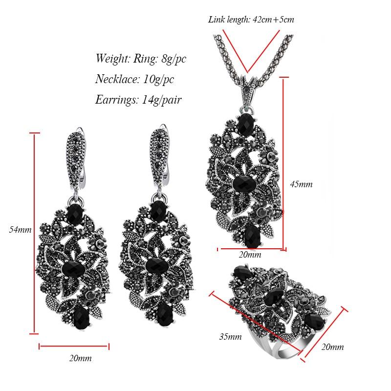 Image 5 - Ajojewel Brand Vintage Jewelry Sets For Women Black Crystal Hollow Flower Necklace Earrings Ring JewerlyJewelry Sets   -