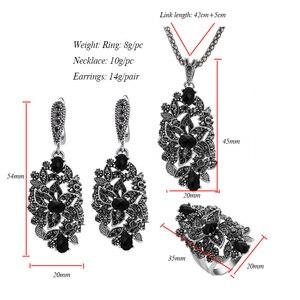 Image 5 - Ajojewel Merk Vintage Sieraden Sets Voor Vrouwen Black Crystal Hollow Bloem Ketting Oorbellen Ring Jewerly