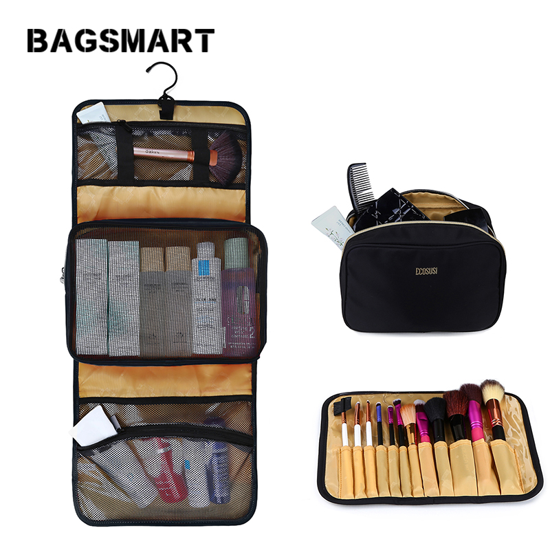 BAGSMART 3 ensembles/pcs sac cosmétique étanche grandes femmes voyage trousse de toilette sac de maquillage multifonctionnel organisateur sac pour brosses