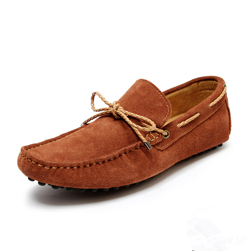 US Size 6 10 NEW suede Leather tie Men s round toe slip on loafer Moccasin
