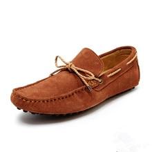 Размер США 6-10 НОВЫЙ замши галстук мужская круглого toe поскользнуться на loafer Мокасины Вождения Бездельник