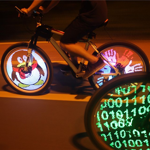 US $36 25  Programmable Bicycle Lights 128 LED DIY Bike Wheel Spokes Light  Electric Bike Tire Lamp Screen Display Image For Night Cycling-in Bicycle