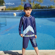 AONIHUA 2018 Children Boys Cute Swimming with Trunks Bath Suit Boy Kids  Sportswear Long Sleeve Two-Piece Suits 1032