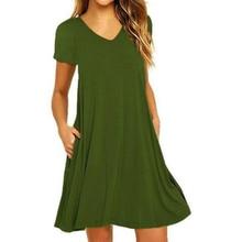 Summer New Style European And American Women V-neck Short-Sleeve Pocket Dress Short