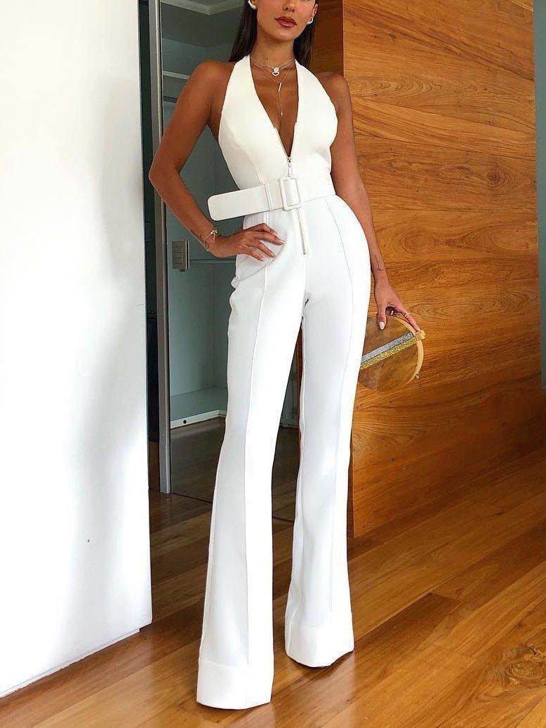 High Quality White Sleeveless V-neck Backless Jumpsuit Fashion
