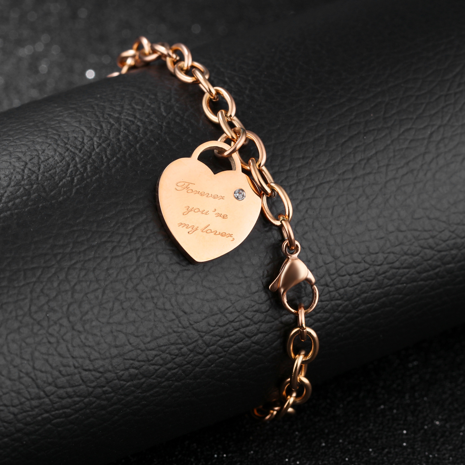 SILVER PLATED MADE WITH LOVE HEART LINK CHARM BRACELET BANGLE FREE UK POST HB