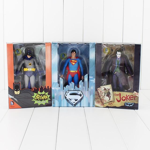 17 cm NECA Figura de Ação Superman Batman Joker Com Dardos Faca Arma Clássica Série de TV Collectible Modelo Toy Dolls
