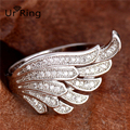 New Fashion 925 Sterling Silver clear cubic Zirconia charming Angel wings ring Wedding ring Full Size