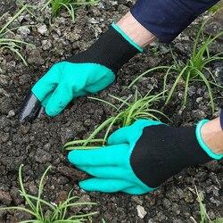 Новинка 1 пара зеленые садовые перчатки с кончиками пальцев когти копать и растения безопасные перчатки для обрезки роз варежки перчатки дл...
