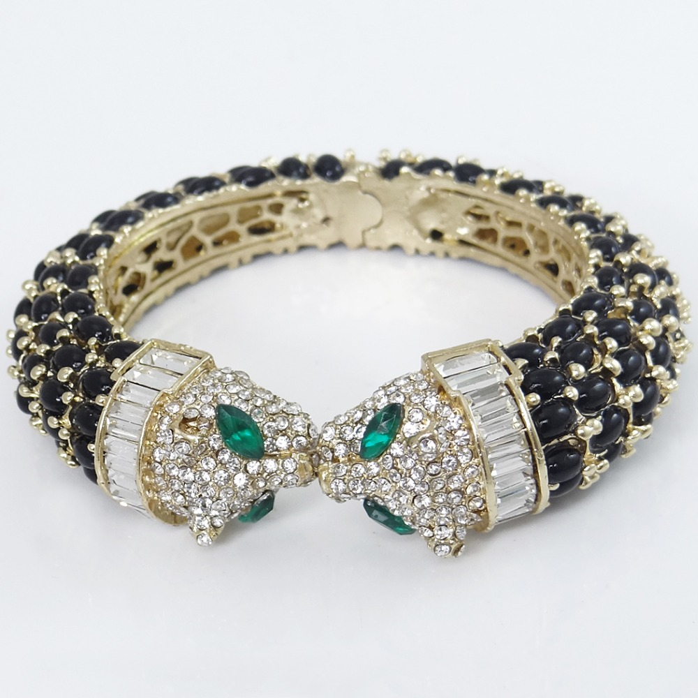 Tuliper Black Kiss Panther Leopard Animal Bracelet Bangle Austrian - Fashion Jewelry - Photo 4