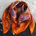 100%Silk Twilly 90x90cm Flower Printed Square Women Scarves 2017 Spring Woman Scarf Luxury Brand Hijab Fourlard Shawls Wraps S6