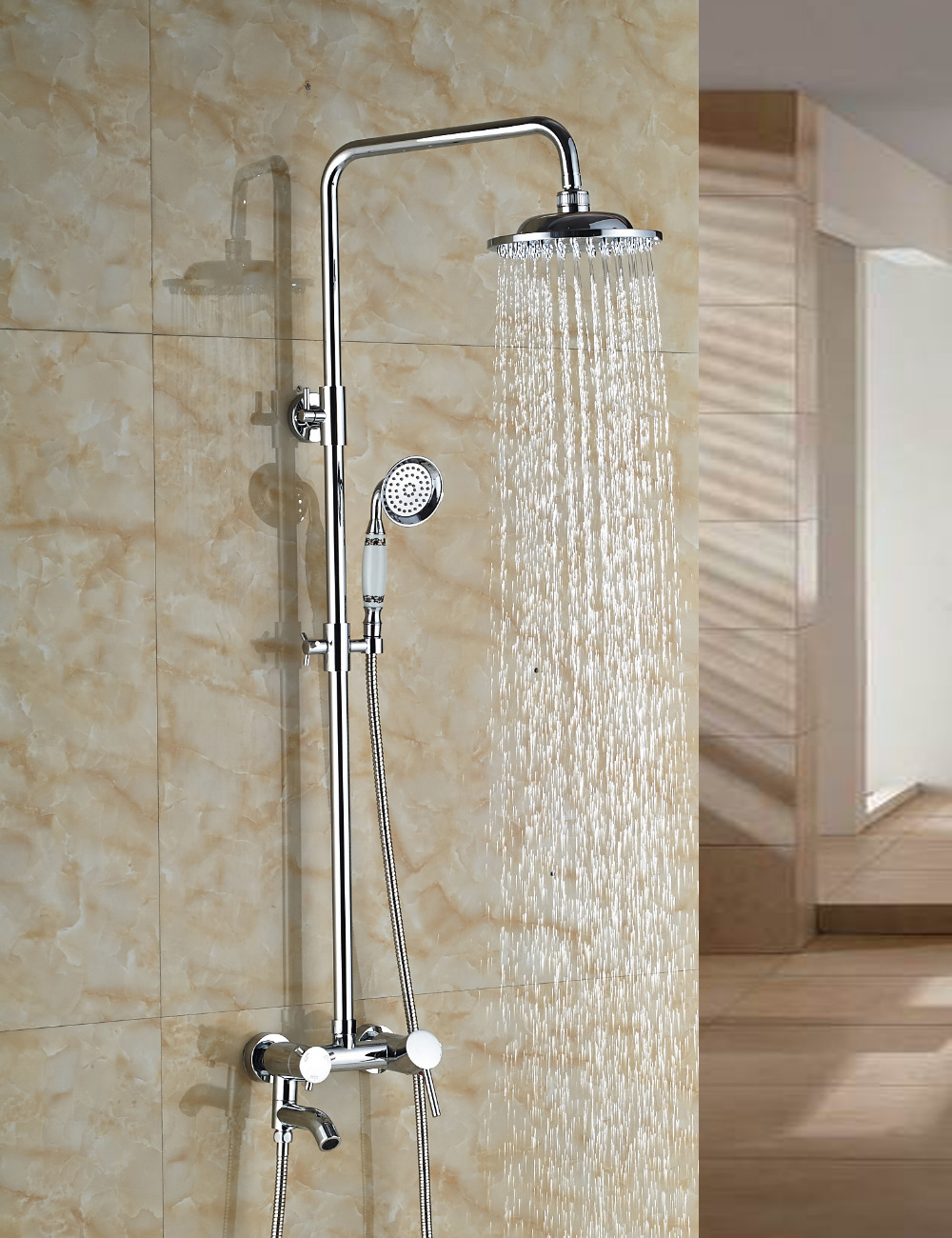 Wholesale And Retail Manufactory Sell Solid Brass Chrome Finish Shower Mixer Tap W/ Hand Shower Swivel Tub Spout Shower Column wholesale and retail polished chrome finish round rain shower head vavle mixer tap swivel spout w hand sprayer