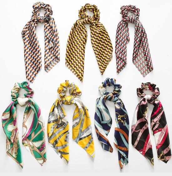 Hot Sale Floral Print Women Hair Scarf Elastic Hair BandsBohemian Hairband Bow Hair Rubber Ropes Scrunchie Girls Hair Ties