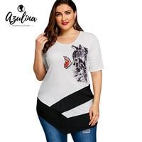 AZULINA Plus Size Cat Print Asymmetric T Shirt Women Ladies Short Sleeves Long T Shirts Womens