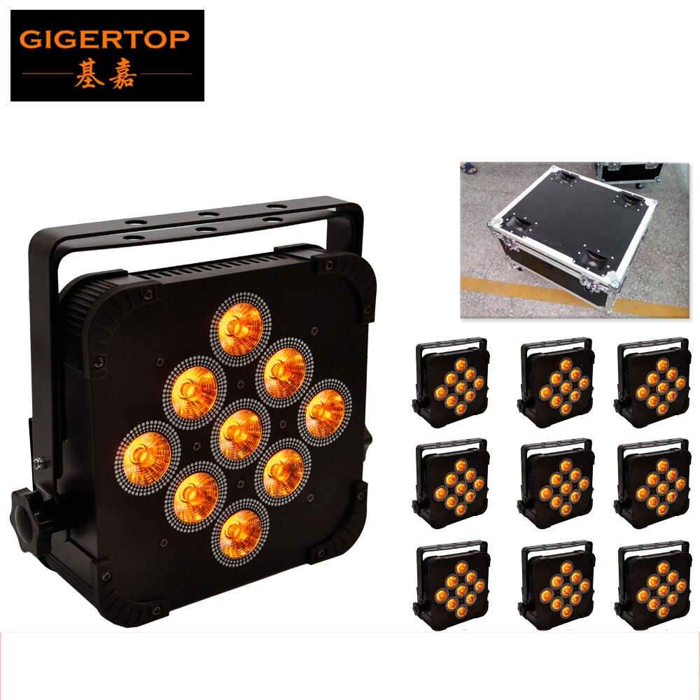 TIPTOP 9*15W Led Par Can DJ Lighting 140W Flat 5 in 1 RGBWA 5/9 Channels DMX 512 Aluminum Case Disco Lighting Flightcase Pack цены