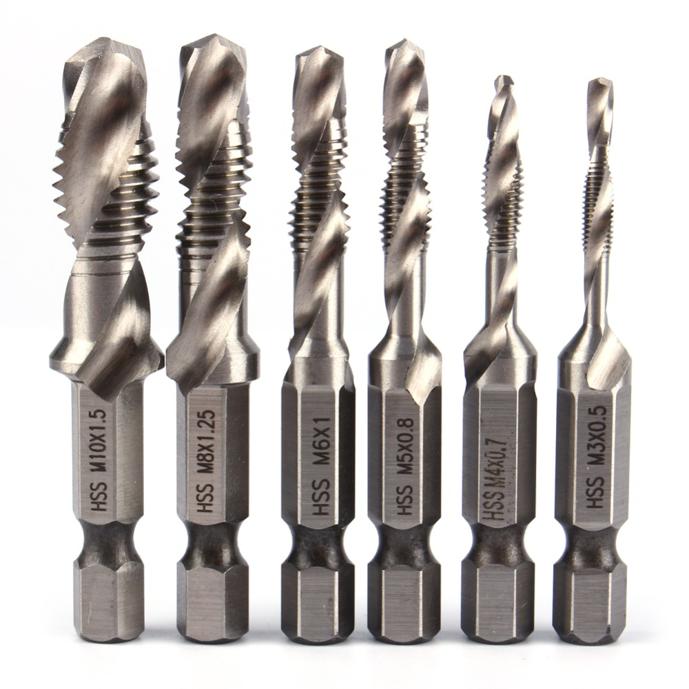 6pcs/set M3 M4 M5 M6 M8 M10 Metric Taps Drill Bits Hand Screw Thread Hex Shank HSS Tap Drill Woodworking Hexagon Handle Compound
