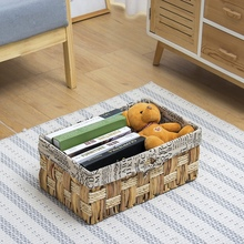 Hyacinth straw storage basket with cotton linen lining rattan baskets storage of toys corn braid storage boxes hand made woven storage of mango treated with calcium chloride
