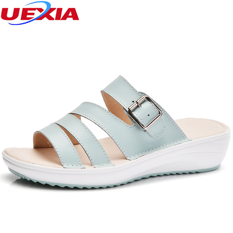 UEXIA 2018 New Summer women slippers Open Toe Breathable Thick Soled Female Outside Hollow Wedges Outside Flat Slides Sandales uexia summer shoes women flats increase high heel leather peep toe thick soled female footwear women wedges mules casual ladies