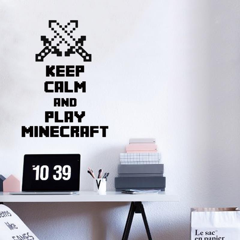Art design cheap home decoration keep calm and play font b minecraft b font wall sticker
