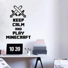 Art design cheap home decoration keep calm and play minecraft wall sticker removable vinyl home decor game decals living room