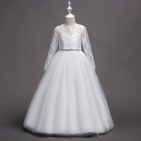 New Long Sleeve Lace Dress For Girls 3 15 Years Bridesmaid Sequined Dresses Wedding Party Stage Ball Gown Princess Costumes